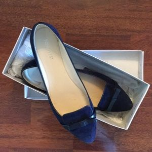 Navy suede pointed toe flats